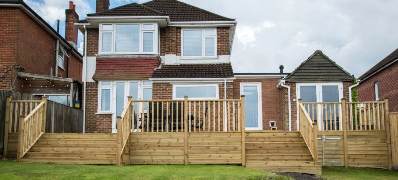 Elevated timber decking Hampshire
