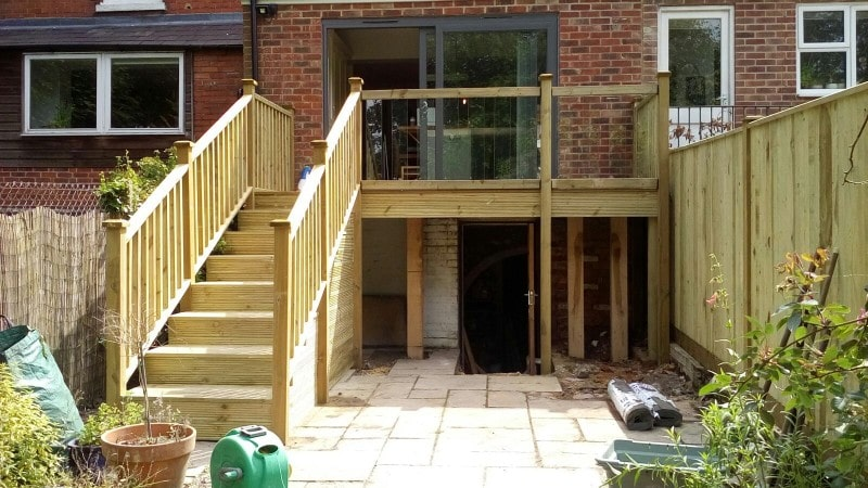 Elevated timber decking Southampton